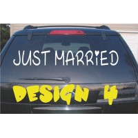 Just Married Vinyl Decal / Sticker  (MADE IN THE USA)
